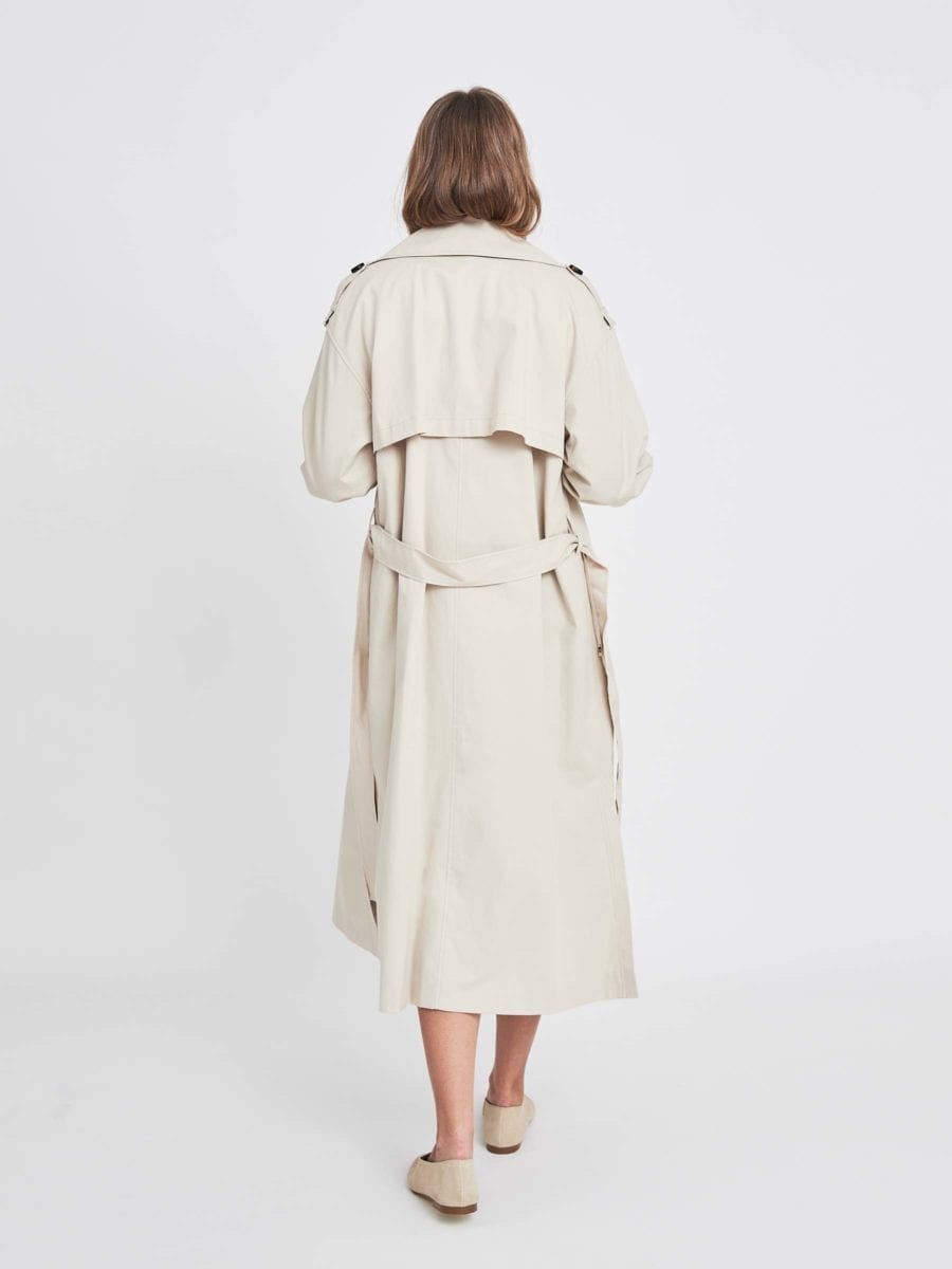 BEIGE OVERSIZED BELTED TRENCH COAT