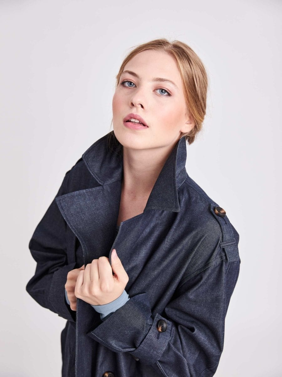 BLUE OVERSIZED BELTED DENIM TRENCH COAT