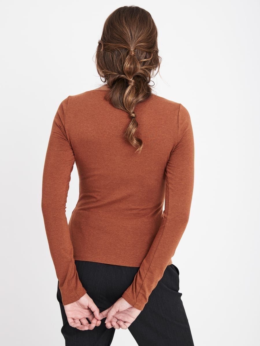 TERRACOTTA BOAT NECK TOP