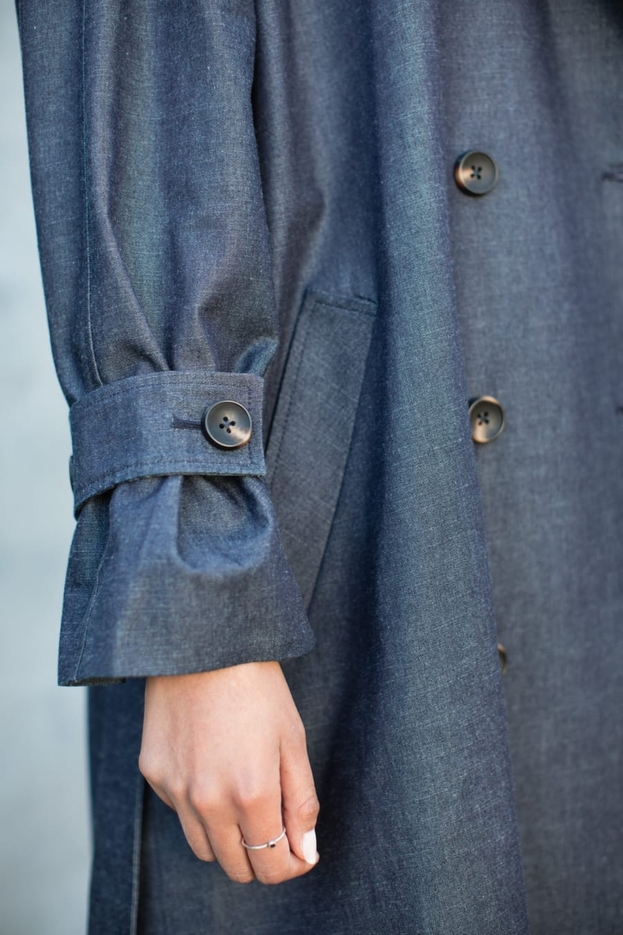 BLUE OVERSIZED DENIM TRENCH COAT